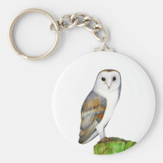 Barn Owl Tyto Alba Watercolor Artwork Print Basic Round Button Keychain