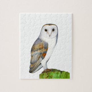 Barn Owl Tyto Alba Watercolor Artwork Print Jigsaw Puzzle