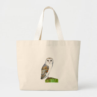 Barn Owl Tyto Alba Watercolor Artwork Print Large Tote Bag