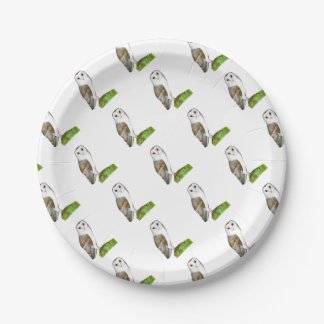 Barn Owl Tyto Alba Watercolor Artwork Print Paper Plate