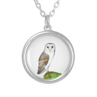 Barn Owl Tyto Alba Watercolor Artwork Print Silver Plated Necklace
