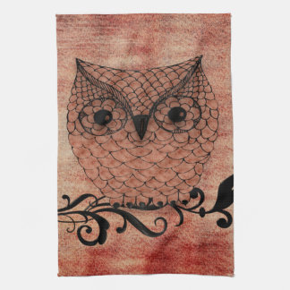 Barn Owl Whimsical Country Kitchen Towel