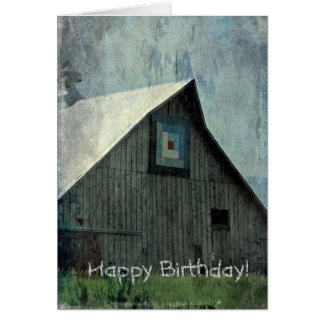 Barn Quilt Grunge, Birthday Card