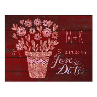 Barn Red and RoseGold Save the Date Postcard