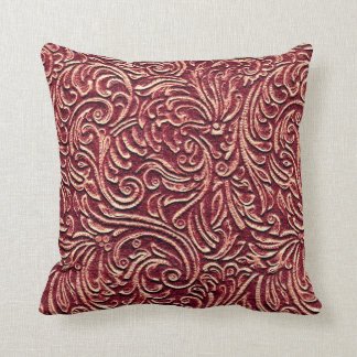 Barn Red Distressed Vintage Pattern Rustic Home Throw Pillow