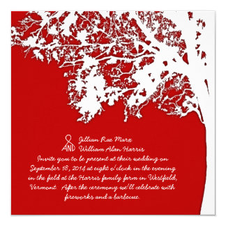 Barn Red Fall Tree Fun and Unique Wedding Card