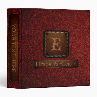 Barn red Leather Elegant Monogram 3 Ring Binders