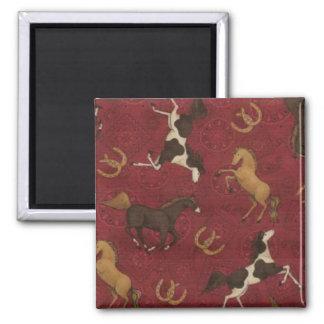 Barn Red with Horses & Horseshoes Fridge Magnet