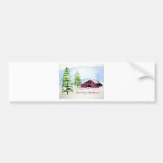 Barn Scene Christmas Bumper Sticker