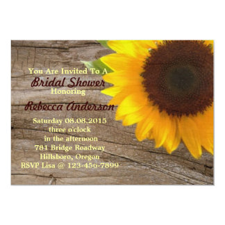 barn sunflower country bridal shower tea party card