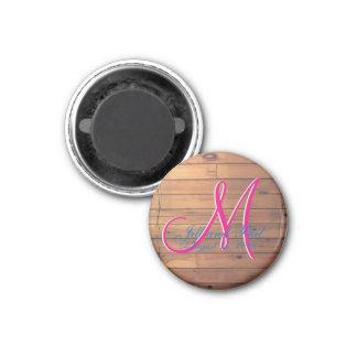 Barn Wall 3d Monogram 1 Inch Round Magnet