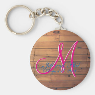 Barn Wall 3d Monogram Basic Round Button Keychain