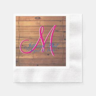 Barn Wall 3d Monogram Paper Napkin