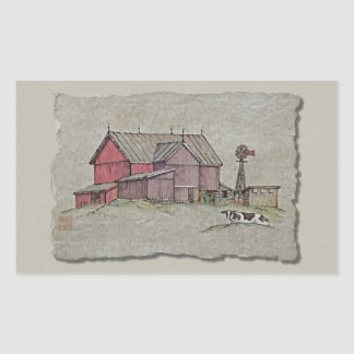 Barn Windmill & Cow