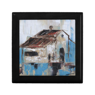 Barn with antique and rustic hues of turquoise gift box