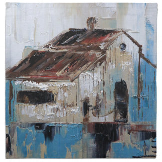 Barn with antique and rustic hues of turquoise napkin