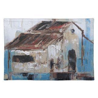 Barn with antique and rustic hues of turquoise placemat