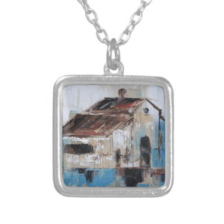 Barn with antique and rustic hues of turquoise silver plated necklace