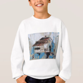 Barn with antique and rustic hues of turquoise sweatshirt