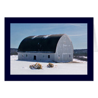 Barn with curved roof in snow card