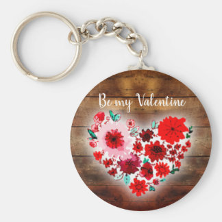 Barn wood and flowers | Be my Valentine heart Keychain