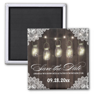 Barn Wood and Lace Mason Jar Wedding Save the Date Square Magnet