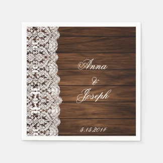 Barn Wood and Lace Napkins Paper Napkins