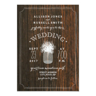 "Barn Wood & Baby's Breath Mason Jar Wedding 5"" X 7"" Invitation Card"