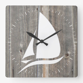 Barn Wood Background with White Sailboat Square Wall Clock
