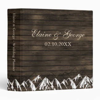 Barn wood Camping Rustic Mountains wedding Planner 3 Ring Binders