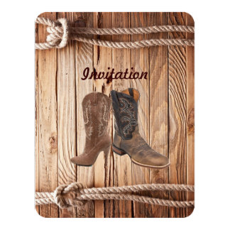 "barn wood Cowboy Boots Western country Wedding 4.25"" X 5.5"" Invitation Card"