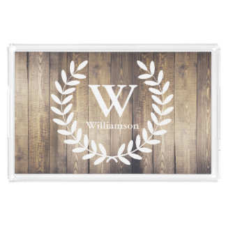 Barn Wood Farmhouse Rustic Laurels Family Name Serving Tray