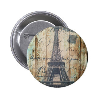 Barn Wood French Country Paris Eiffel Tower 2 Inch Round Button