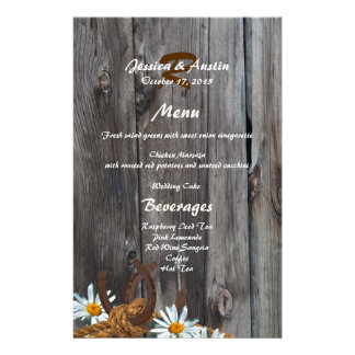 Barn Wood, Horseshoes and Daisies Menu