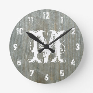 Barn Wood Inspired Monogram Clock