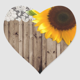 barn wood lace rustic country sunflower heart sticker