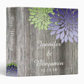 Barn Wood Modern Purple Green Petals Wedding Album Vinyl Binders