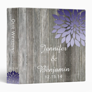 Barn Wood Modern Purple Petals Wedding Photo Album Vinyl Binder