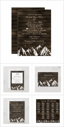 Barn Wood mountain scene wedding invitations Set