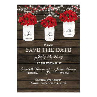 Barn wood poinsettias mason jar save the date magnetic card