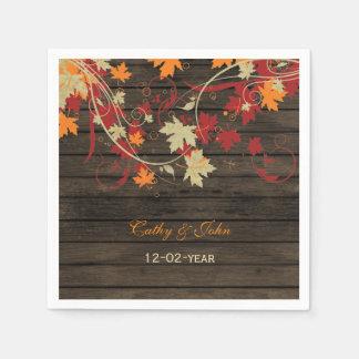 Barn Wood Rustic Fall Leaves Wedding Disposable Napkins
