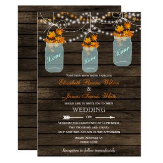 Barn wood Rustic mason jar Fall wedding invitation
