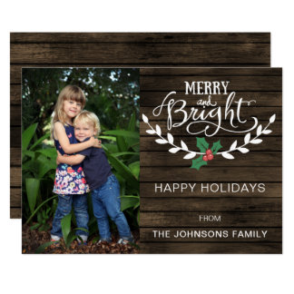 Barn wood Rustic Personalized Photo Holiday Card