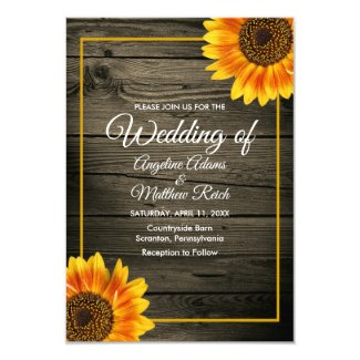 Barn Wood + Rustic Sunflower Wedding Card