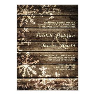 "Barn Wood Snowflakes Rustic Winter Wedding 5"" X 7"" Invitation Card"