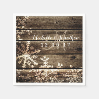 Barn Wood Snowflakes Rustic Winter Wedding Napkin Paper Napkins