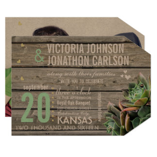 Barn Wood Succulent Modern Typography Wedding Card