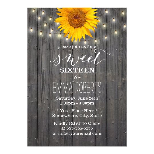 Barn Wood Sunflower & String Lights Sweet 16 Card