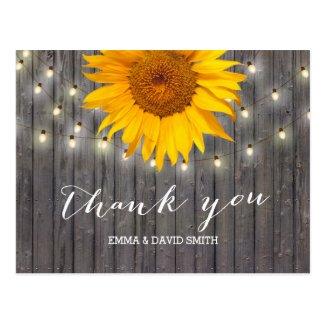 Barn Wood Sunflower & String Lights Thank You Postcard