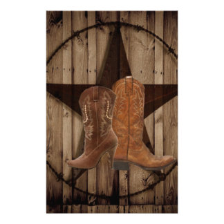 Barn Wood Texas Star western country cowboy boots Stationery Design